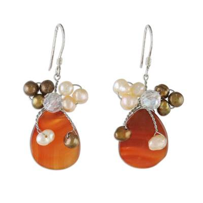 Handcrafted Beaded Agate and Pearl Earrings