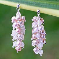 Pearl and rose quartz cluster earrings, 'Rosebuds' - Pearl and Rose Quartz Beaded Earrings