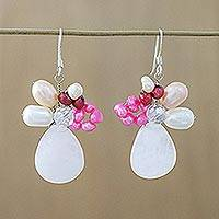 Pearl and rose quartz cluster earrings, 'Rose Aurora' - Rose Quartz and Pearl Dangle Earrings