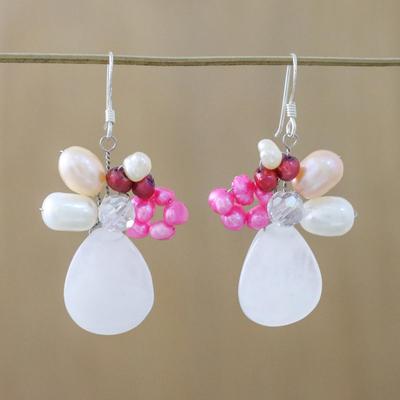Pearl and rose quartz cluster earrings, 'Rose Aurora' - Rose Quartz and Pearl Dangle Earrings