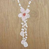 Rose quartz lariat necklace, 'Floral Rain' - Hand Made Rose Quartz Necklace