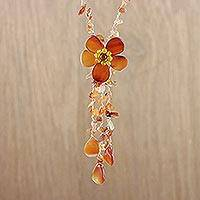 Agate Y necklace, 'Floral Rain' - Hand Made Floral Agate Necklace