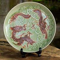 Celadon ceramic plate, 'Dragon Journeys' - Celadon Ceramic Decorative Plate