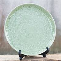 Celadon ceramic plate, 'Thai Pride' - Celadon Ceramic Plate with Stand