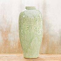 Celadon ceramic vase, 'Rampant Vineyard' - Hand Made Celadon Ceramic Vase
