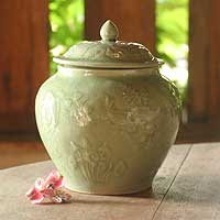 Celadon ceramic jar, 'Lotus Pond' - Celadon ceramic jar