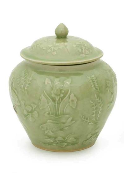 Celadon ceramic jar