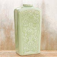 Celadon ceramic vase, 'Valley Lotus' - Celadon Rectangular Ceramic Vase