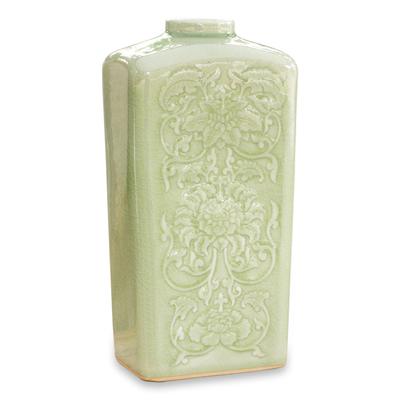 Celadon ceramic vase, 'Valley Lotus' - Celadon Ceramic Vase