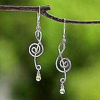 Peridot dangle earrings, 'Thai Melody' - Sterling Silver and Peridot Music Note Earrings