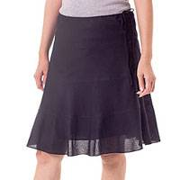 Cotton skirt, 'Summer Night' - Black Cotton Skirt