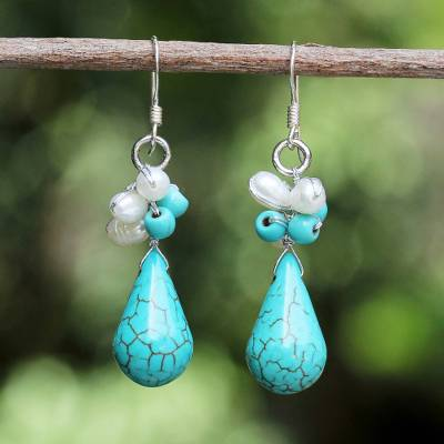 Pearl cluster earrings, 'Tropic Blue' - Hand Made Turquoise coloured Dangle Earrings