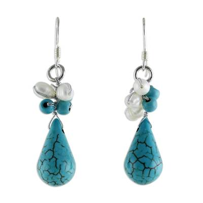 Hand Made Turquoise Colored Dangle Earrings