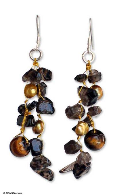 Pearl and smoky quartz dangle earrings