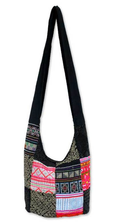 Handcrafted Hill Tribe Patchwork Sling Bag - Hmong Tradition | NOVICA
