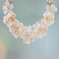 Pearl choker, 'Golden Gardenia' - Pearl choker