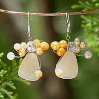 Pearl cluster earrings, 'Golden Gardenia' - Hand Made Pearl Cluster Earrings
