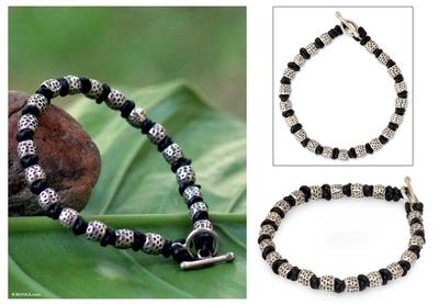 Men's leather bracelet, 'Thai Knot' - Men's Silver and Leather Beaded Bracelet