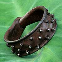 Leather wristband bracelet, 'Hill Tribe Glam'