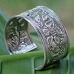 Thai Floral Sterling Silver Cuff Bracelet, 'Jungle Flower'