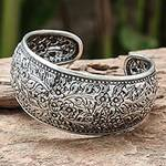 Handmade Floral Sterling Silver Cuff Bracelet from Thailand, 'Sweet Jasmine'