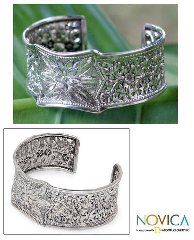 Sterling silver cuff bracelet, 'Floral Village' - Hand Made Floral Sterling Silver Cuff Bracelet