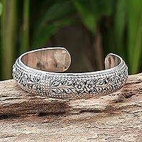 Sterling silver cuff bracelet, 'Ivy Garland' - Artisan Crafted Floral Sterling Silver Cuff Bracelet