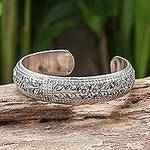 Artisan Crafted Floral Sterling Silver Cuff Bracelet, 'Ivy Garland'