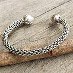 Sterling silver cuff bracelet, 'Pine Cone'