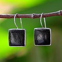 Coconut shell drop earrings, 'Forest Song' - Coconut shell drop earrings