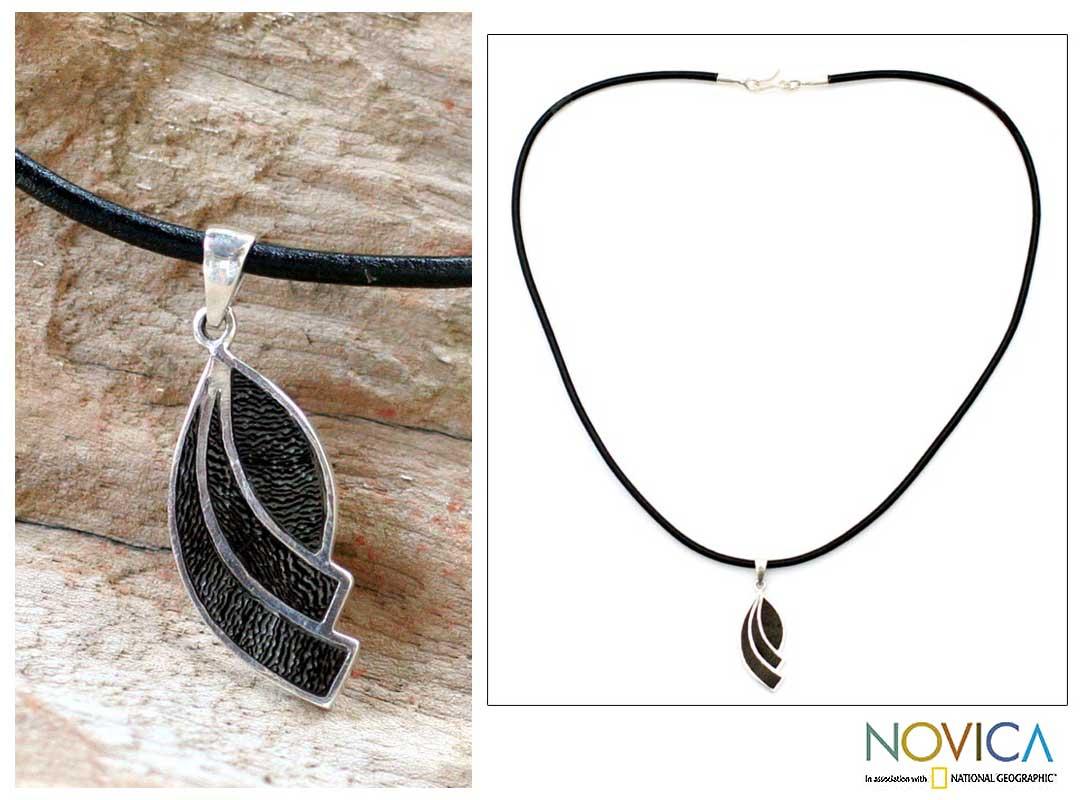 Coconut shell pendant necklace black seashell novica aloadofball Gallery