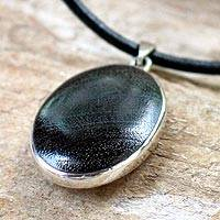Coconut shell pendant necklace, 'Eternal Black' - Coconut shell pendant necklace