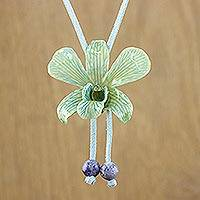 Natural orchid and lapis long necklace, 'Joyful Sky' - Natural orchid and lapis long necklace