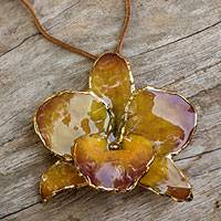 Gold accent natural orchid  long necklace, 'Elegant Yellow' - Gold Plated Natural Flower Pendant Necklace