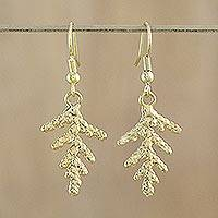 Natural leaf gold-plated dangle earrings, 'Cypress Honor' - Gold Plated Leaf Earrings