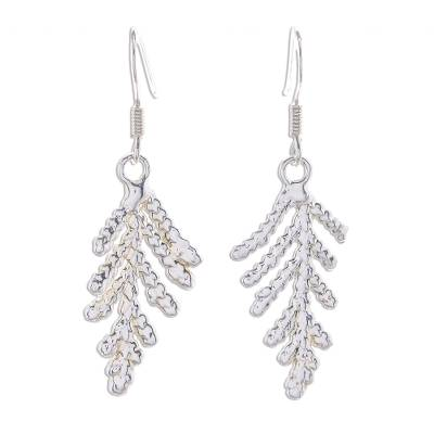 Silver Plated Natural Leaf Earrings