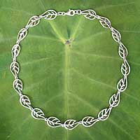 Sterling silver chain necklace, 'Leaf Dance' - Sterling silver chain necklace