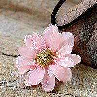 Natural flower necklace, 'World of Pink' - Hand Made Thai Natural Flower Necklace