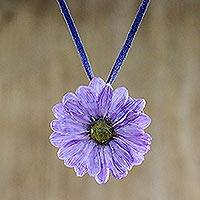 Natural flower necklace, 'World of Violet' - Natural flower necklace