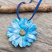Natural flower necklace, 'World of Blue' - Hand Made Thai Natural Flower Pendant Necklace