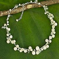 Pearl strand necklace, 'River of Snow' - Handcrafted Pearl Necklace from Thailand
