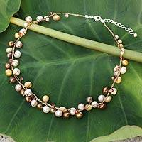 Pearl strand necklace, 'River of Gold' - Gold and Cream Pearl Beaded Necklace
