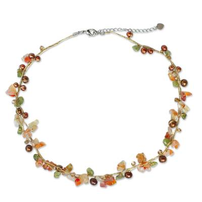 Artisan Crafted Carnelian and Pearl Beaded Strand Necklace