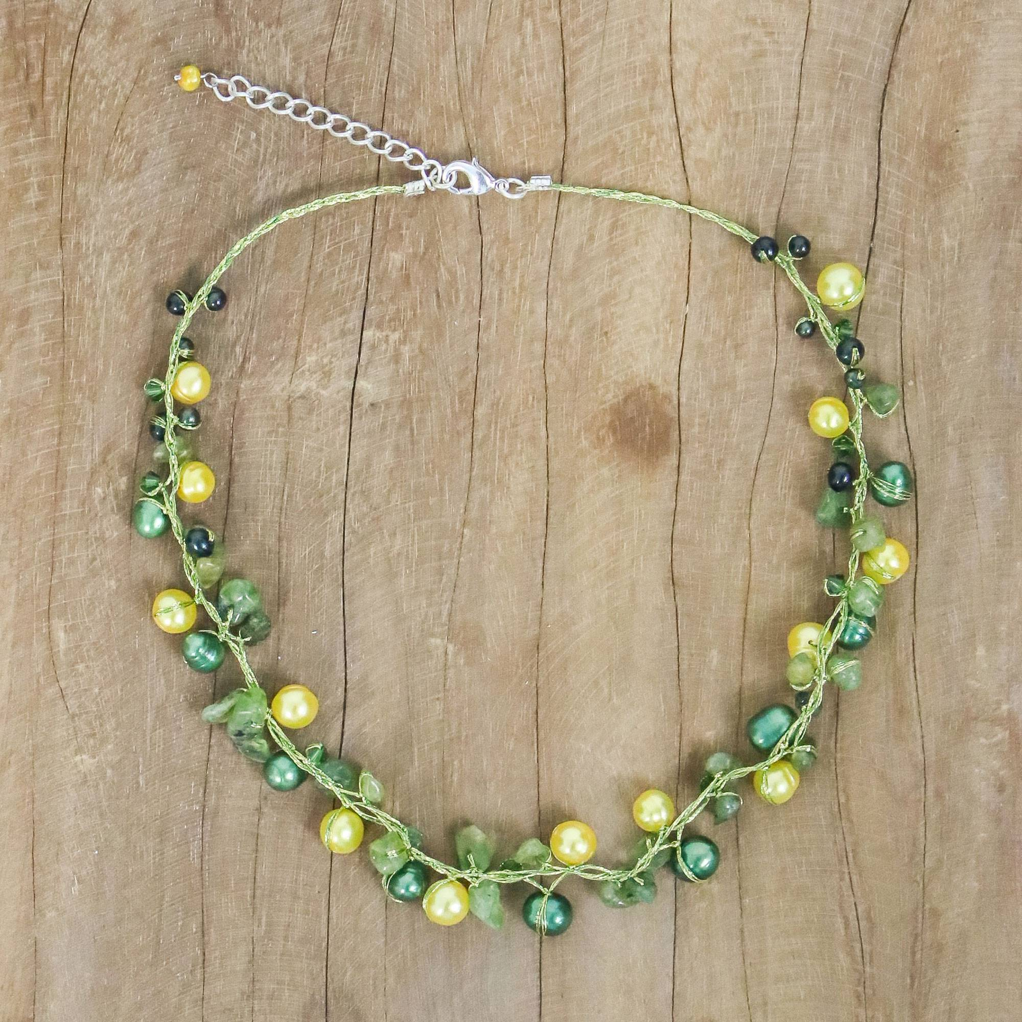 Cultured Pearl And Peridot Strand Necklace, 'tropical Elite'  Handmade  Cultured Pearl And