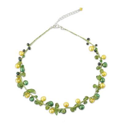 Handcrafted Green and Gold Cultured Pearl and Peridot Strand Necklace