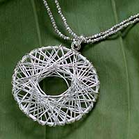 Silver pendant necklace, 'Web of Light' - Silver pendant necklace