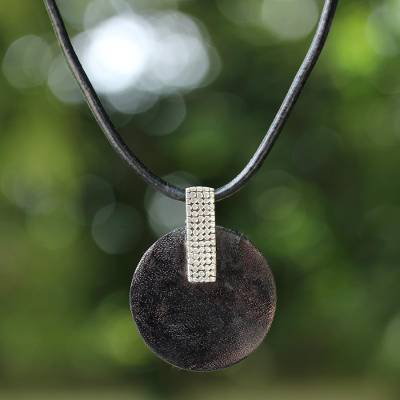 Mango wood pendant necklace, 'Chocoholic' - Mango wood pendant necklace