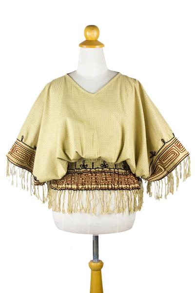 Cotton blouse, 'Hypnotic Beige' - Embroidered Cotton Blouse
