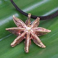 Gold plated natural star anise pendant necklace, 'Spice of Life' - Gold plated natural star anise pendant necklace