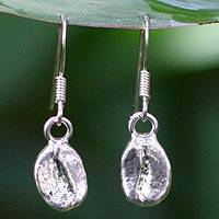 Silver plated natural coffee bean dangle earrings, 'Coffee Chic' - Thai Silver Plated Coffee Dangle Earrings